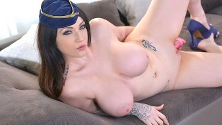 Harmony Reigns – Recreational Penetration – Voluptuous Flight Attendant Masturbates
