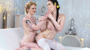 Carly Rae & Daphne Angel – New teen lesbian masseuse
