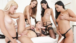 Mea Melone, Daisy Lee, Lady Dee, Daphne Klyde & Tina Kay – 4 on 1 Lesbian Gang Bang 2