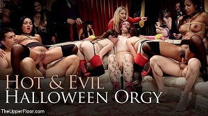 Aiden Starr, Amara Romani, Sadie Santana, Kasey Warner & Ember Stone – Evil & Hot Halloween Orgy