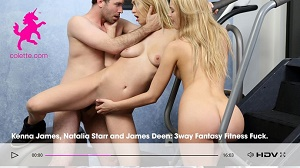 Kenna James & Natalia Starr – Kenna James: 3way Fantasy Fitness Fuck with Natalia Starr and James Deen