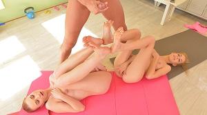Chelsy Sun & Monique Woods – Hardcore Yoga: 2 Slim Babes, 1 Hard Cock, 4 Sexy Feet