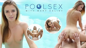 Mary Kalisy – Naughty blonde swimmer gives a head in a pool