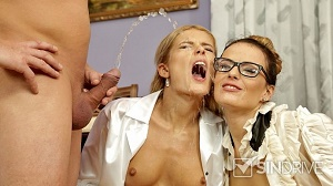 Sweet Cat & Samantha Johnson – Business Babes Power Pissed At The Gallery! Makin' It Rain Money and Piss!