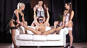 Wendy Moon, Blanche Bradburry & Mea Melone – FemDom Paradise: Three Glamour Dominas Humiliate Guy