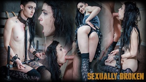 Lydia Black – ALT beauty locked into the perfect slave position with hard metal, while two cock ravish her throat!