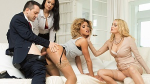 Rose Valerie, Amber Jayne & Mariska – His wife offers him 2 slutty girls