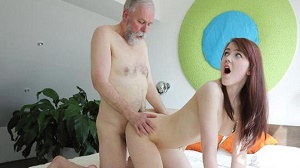 Geny – Unexpected sex visitor joins masturbating brunette through a window