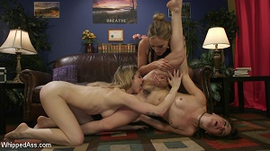 Juliette March, Dahlia Sky & Mona Wales – Mona Wales Takes Down Two Angry Roomies In 3-Way Lesbian Dom Session