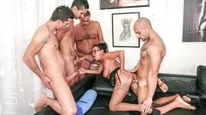 Laura Rey – Italian orgy features brunette mature amateur fucked by four young cocks