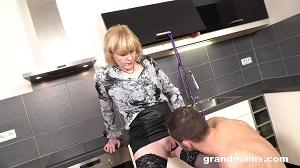 Grandma – Demanding Her Young Sex Slave To Fuck Her Cunt